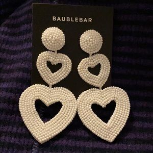 NWT Anthro Baublebar White Double Hearts Earrings